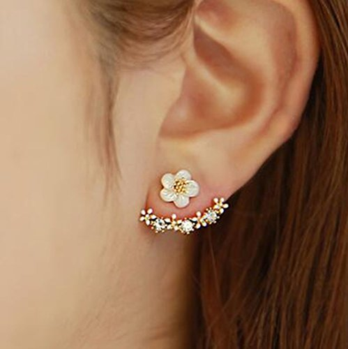 Daisy Flowers Earrings Little Daisy Flower After Hanging Stud Earrings for Lady Women Girls