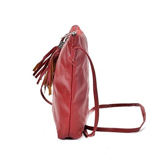 Longra Sacchetto di spalla singolo di chiusura della chiusura lampo della chiusura lampo della nappa della donna dellunità di elaborazione solida delle donne Rosso