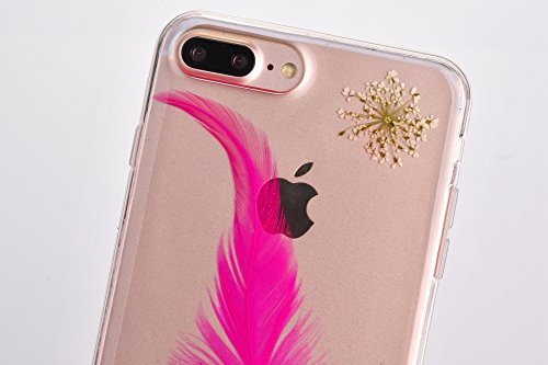 EUWLY Custodia per iPhone 7 Plus/iPhone 8 Plus (5.5), EUWLY Clear Bello Cover Gomma TPU Custodia Protettiva Soft Silicone Case Anti-Graffio Protettivo Custodia Antiscivolo Protettiva Shell Case Cover Piuma Rosa Caldo