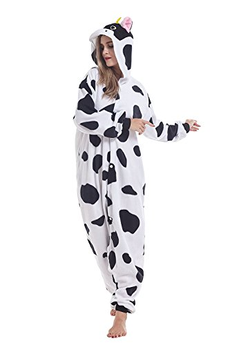 ABYED® Kigurumi Pigiama Anime Cosplay Halloween Costume Attrezzatura,Mucca Taille adulte S -pour Hauteur 150-158cm
