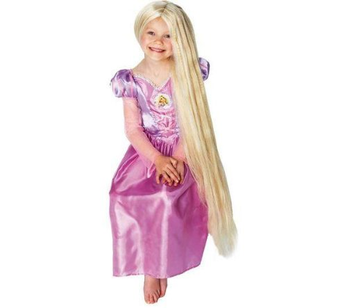 Kostüm Rapunzel Und Perücke - Rubie 's Disney Princess Rapunzel-Perücke mit phosphoreszierenden Highlights + Disney-Rapunzel Kinder-Kostüm-Größe 7-8Jahre