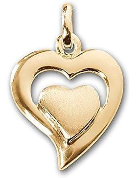 CLEVER SCHMUCK Goldener Anhänger kleines Herz 13 x 12 mm 2-fach außen glänzend offen und innen seidenmatt 333...