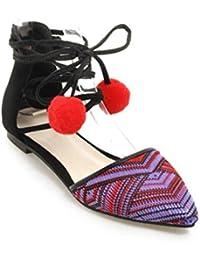 Sandalias planas del talón de las mujeres acentuados zapatos romanos Hollow Cross Straps paquete del estudiante...