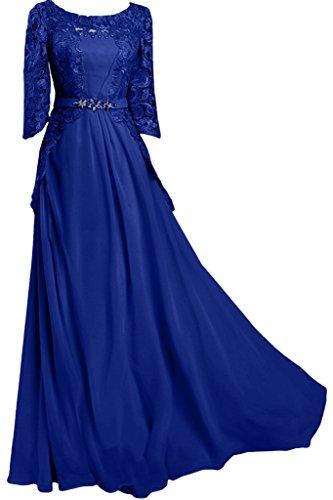 Mezza Manica donna Ivydressing circa colletto Chiffon & punta, Bete vestito da sera lungo dell'abito ball blu royal