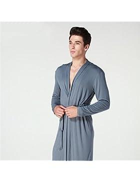 SUxian Gran Albornoz Modal de los Hombres Albornoz Ajustado Bata de Pijamas Vestido de Noche
