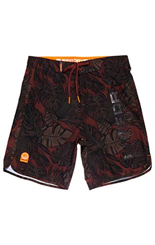Superdry Herren DEEP Water Boardshort Shorts, Beige (Khaki Leafy AOP Q2N), L - Boardshorts Khaki