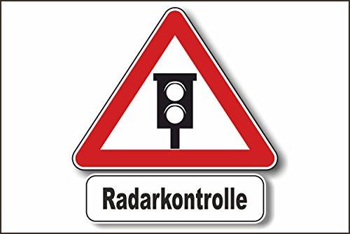 Radarkontrolle / Tempolimit Schild -234t- Radar Warndreieck 29,5cm * 20cm * 2mm, mit 4 Tesa-Powerstrips