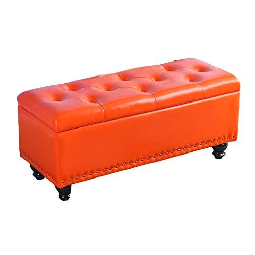 Children's Stools Faltbare Lagerung Sofa Bank, osmanische Lagerung Schuh Bank rechteckige Sitzbank Tür ändern Schuh Bank Finishing Box 5 Farbe optional (40 * 40 * 45 cm) (Farbe : Bright orange) -