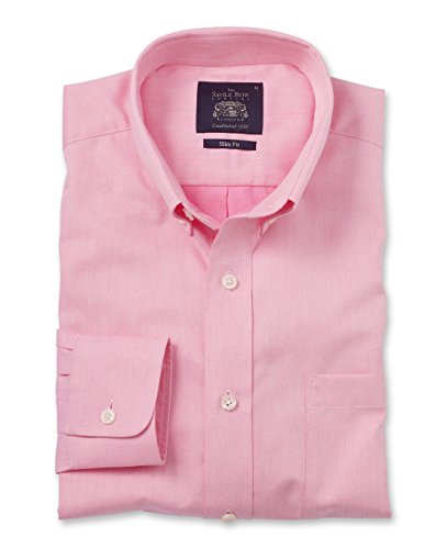 Savile Row Men's Pink Twill Button Down Collar Slim Fit Casual Shirt Pink Red