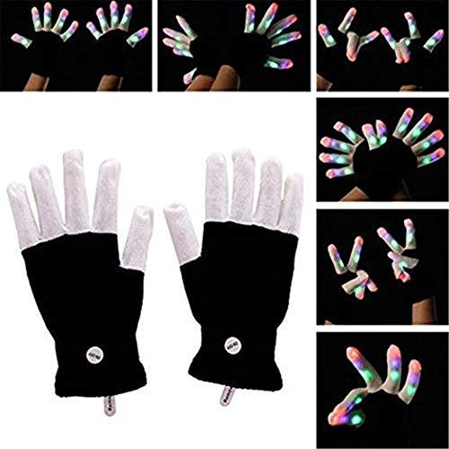 (Yeying123 LED Leuchten Blinkende Fingerhandschuhe 7 Modus Buntes Licht Weihnachten Liefert Geschenke Bühnenshow Club Bar Kostüm,2Pairs)