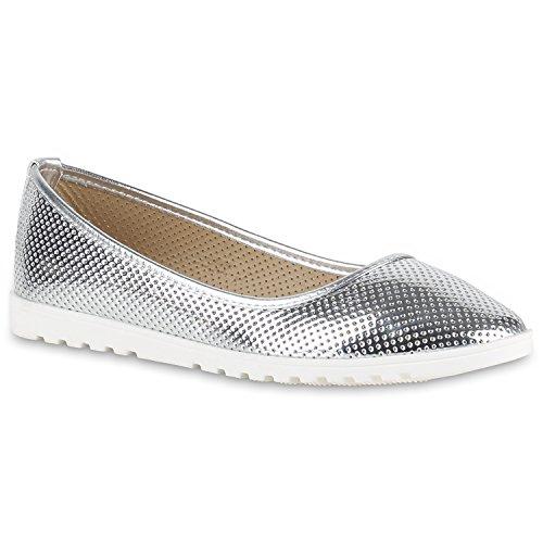 Damen Slipper Loafers Lack Metallic Schuhe Flats Profilsohle Silber Lochung