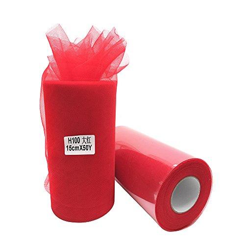 X 50Meter (150ft) Tüll Rolle-Tutu Rock Baby Dusche Kleid Hochzeit Decor Nähen Handwerk Einpacken Stoff Party Dekoration & 43Farben rot ()