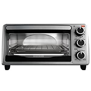BLACK+DECKER TO1303SB 4-Slice Toaster Oven, Includes Bake Pan, Broil Rack & Toasting Rack, Stainless Steel/Black Toaster Oven