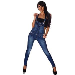 Fashion4Young 10694 Damen Latzhose Hose Pants mit Träger Röhren Jeans Overall Jeanshose Trägerhose