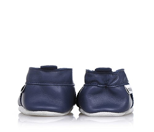 Bobux Train Navy Leather Soft Soles Bleu
