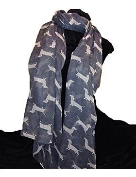 Bufanda gris con el modelo perro salchicha blanco. Bufanda larga suave. Señoras de la moda de Londres. -- Grey...
