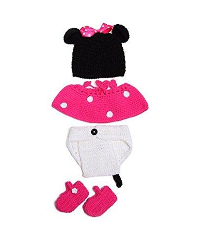 Jastore ® Mickey Maus Fotografie Prop Baby-Kostüm Süss Crochet Strickmütze Hut Mädchen Jungen Windel Schuhe (4Teile)