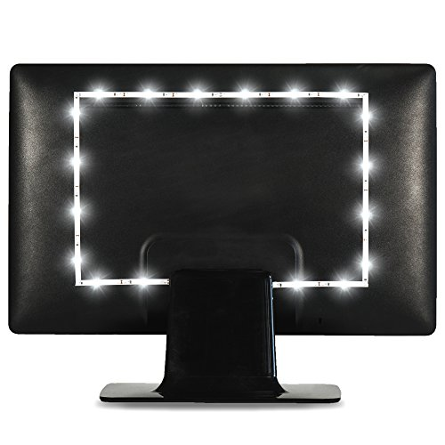 Luminoodle USB LED TV Hintergrundbeleuchtung (3 Meter), echt hellweiße LED-Beleuchtung (kein RGB) für HDTV-, TV-Bildschirm und PC-Monitor, 6500K LED-Strip selbstklebend