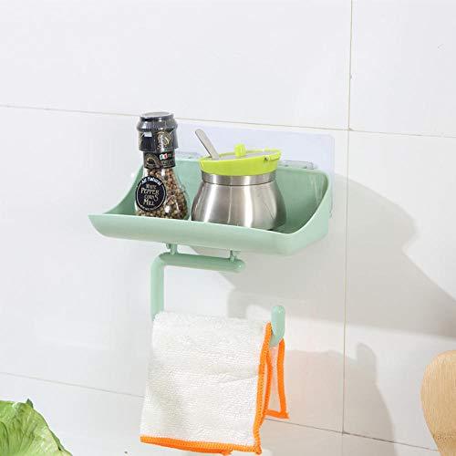 HUIPEI Badregal frei lochend Bad Handtuchablage WC-Handyhalter WC-Saugnapf Wandaufbewahrung Nordic grün