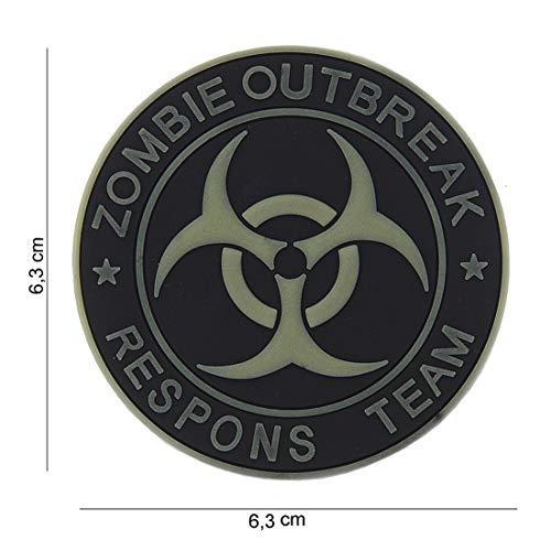 Tactical Attack Zombie Outbreak Respons Team schwarz grau Softair Sniper PVC Patch Logo Klett inkl gegenseite zum aufnähen Paintball Airsoft Abzeichen Fun Outdoor Freizeit (Zombie-klett-patch)