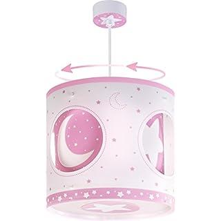 Dalber 63234S Moon Rotating Hanging Lamp, Pink/White