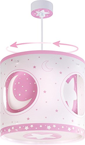 Dalber 63234S Moon and Stars, Lámpara colgante giratoria con placa solar Luna y estrellas rosa, E27, Clase de eficiencia energética A++ a C