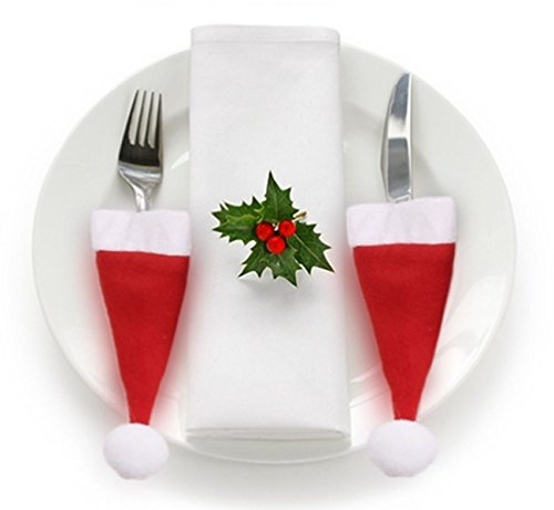 My Planet 8 x Felt Santa Hat Cutlery Silverware Holders Christmas Dinner Table Party Decorations Xmas Accessories