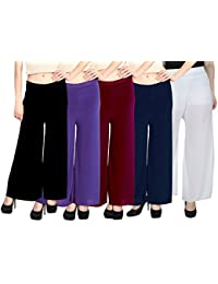 JMD Women's Malai Lycra Palazzo Pant Pack Of 5 (Free Size)-Black,purple,white,Navy Blue,Maroon