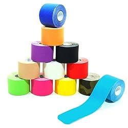 6 Rollen Kinesiologie Tape 5 m x 5,0 cm in 12 Farben, Farbe:dunkelblau