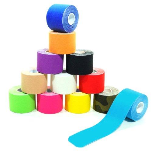 6 Rollen Kinesiologie-Tape 5 m x 5,0 cm 12 Farben, Farbe:schwarz