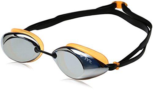 TYR Erwachsene Tracer Racing Miroir Schwimmbrillen, Silbergrau/Orange/Schwarz, One Size (Tyr Swimwear Männer)