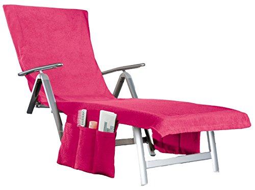 2 in 1 Liegenauflage Sunny umwandelbar in eine Badetasche + Seitentaschen + Kapuzenüberschlag ca. 70x200 cm Walkfrottee Farbe (Pink Beery)
