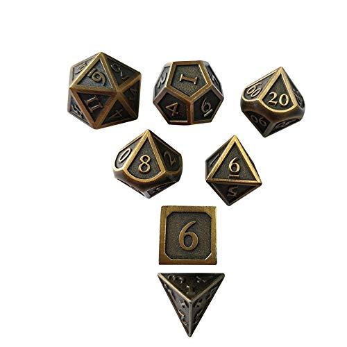 Purplert dadi in ottone denti in metallo solido poliedrici d & d set di 7 giochi in metallo rpg di ruolo in rame gioco di dadi 7 pezzi per dungeons and dragons giochi da tavolo dnd mtg dadi