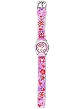 JACQUES FAREL HCC3132 Blumenwiese Uhr Mädchen Kinderuhr Textilarmband Edelstahl 30m Analog mehrfarbig
