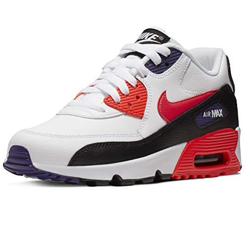 Nike Air Max 90 LTR (GS), Scarpe da Running Bambini e Ragazzi, Bianco (White/BRT Crimson/Black/Court Purple 117), 38 EU