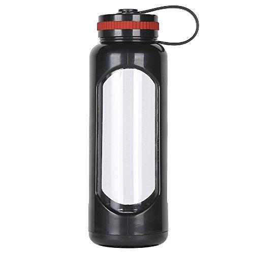 weitinena 33 oz Glas Wasser Flasche PC Sleeve Becher Tasse Sportflasche auslaufsicherer Deckel 1l Kapazität BPA-frei - Liter 1 Metall-wasser-flasche