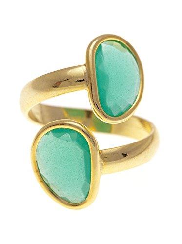 Córdoba Jewels | Sortija en Plata de Ley 925 bañada en Oro con diseño Tú y Yo Kiut Esmeralda Oro