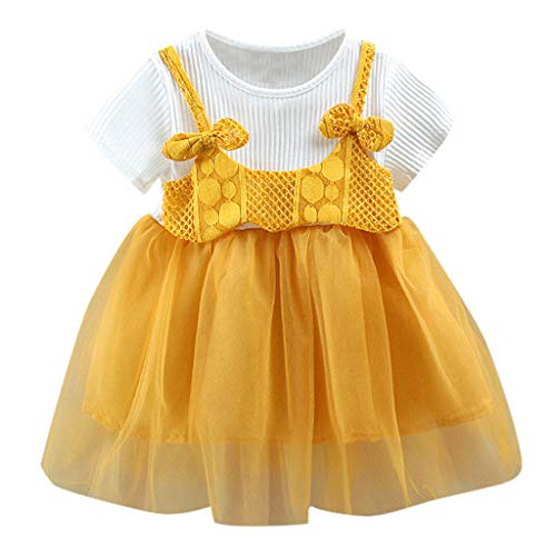MEIbax Säugling Kind Baby Mädchen Kurzarm Bowknot Tüll Blume Prinzessin Kleid Kleidung Urlaub Mode Tütü Babybekleidung