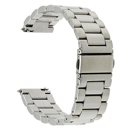 TRUMiRR 22mm Quick Release-Uhrenarmband -Edelstahl-Bügel-Armband für Samsung Gear S3 Classic Frontier,Gear 2 R380 Neo R381 Live-R382, Moto 360 2 46mm, Kiesel Time / Stahl, Asus ZenWatch 1 2 Männer, LG G Watch Urbane W150, Huawei Watch 2 (Classic) (Ende X Gerades 1)