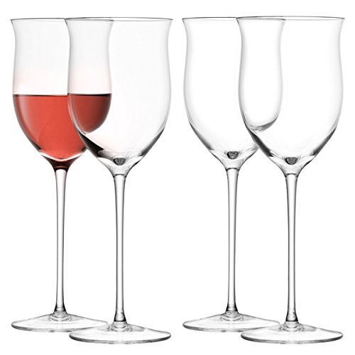 LSA International 400 ml Wein Rose Glas, klar (4 Stück) (Wein Rosen)