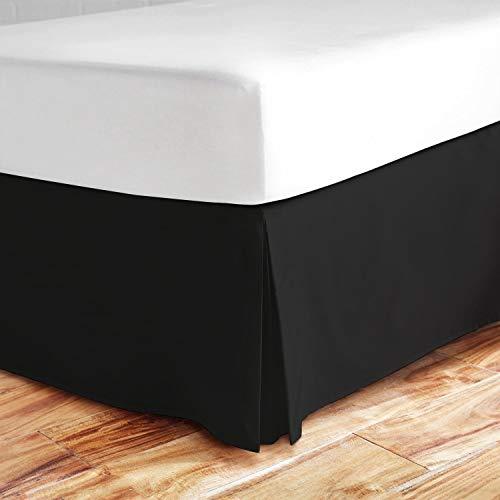 Valencia Beddings Eck-Bettrock, 40,6 cm lang, RV-Größe, 100% natürliche Baumwolle, Knitter- und lichtbeständig, Wohnmobil-Größe, Weiß Queen 60'' x 80'' Black Solid