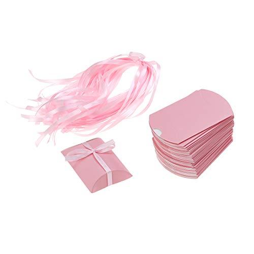 ke / 50 Sätze Kreative Hochzeit Papier Pralinenschachtel Schöne Kissenform Einfarbig Verpackung Geschenk Leckereien Goodies Boxen Party Supplies (Rosa) ()