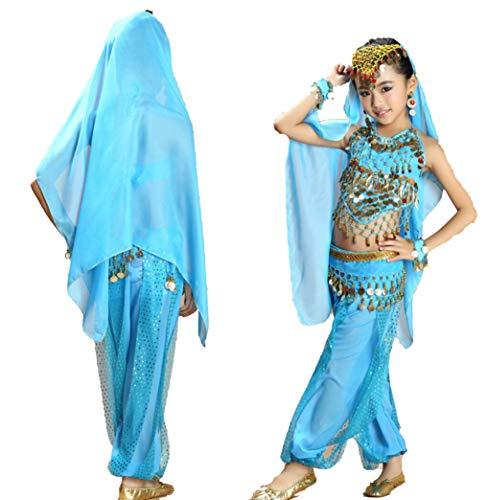 ZYLL Bauchtanzkleid FüR MäDchen, Tanz Arabische Prinzessin Halloween-KostüM Bollywood Indian Dance Kleid 6-Teiliges Set,Blue,M