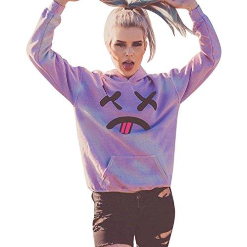 Bellelove Neue Frauen Emoji gedruckte Blusen Tasche Hoodie Sweatshirt Nette Kapuzenpullis (S, Lila) (Popeline-cape)