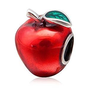 Charm-Anhänger in Apfelform, roter Emaille, 925 Sterlingsilber, Glücksfrucht, für Pandora-Charm-Armband