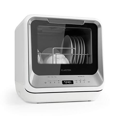Klarstein Amazonia Mini Spülmaschine Geschirrspüler Geschirrspülmaschine (EEC: A, Platz für 2 Maßgedecke, 6 Programme, 5 Liter Wasser benötigt, LED-Display, Touch, inkl. Zubehör) silber