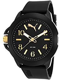 PUMA Impact One Men's Quartz Watch with Black Dial Analogue Display and Black Silicone Strap PU104181001