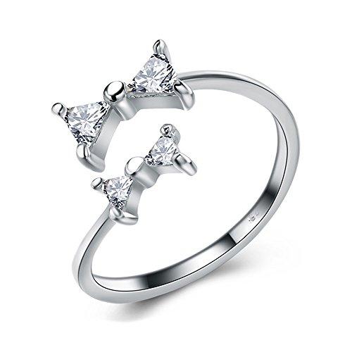 OPK joyas anillo de las mujeres de plata de ley Lovely lazo con brillante circonita, abrir/ajustable dedo anillo