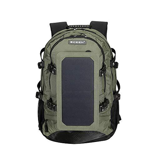 BAG 35L Solar Rucksack Radfahren Klettern Wandern Reise Solar Power Rucksack mit Solar Panel Flasche Tasche Männer und Frauen Laptoptasche,Green -