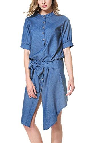 Monissy Femmes Jupe Col Montant Taille Jupe Robe Denim Slim Lacet Douce Bleu